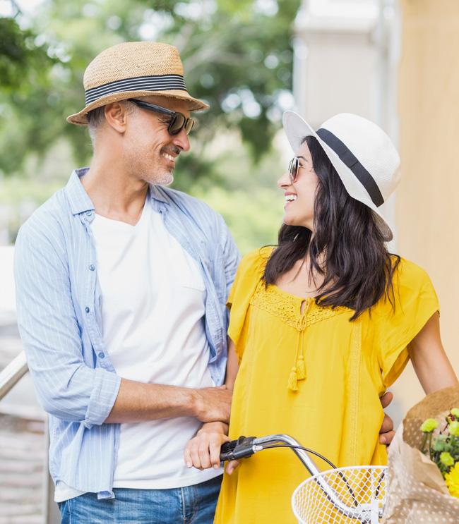 Happy Italian couple enjoying a sunny day